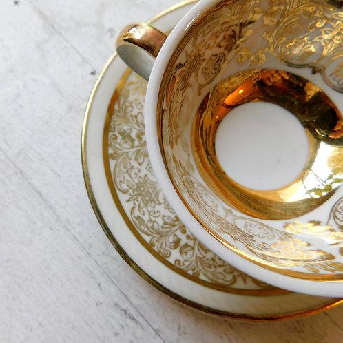 Vintage Gilded Gold Tea Cup & Saucer