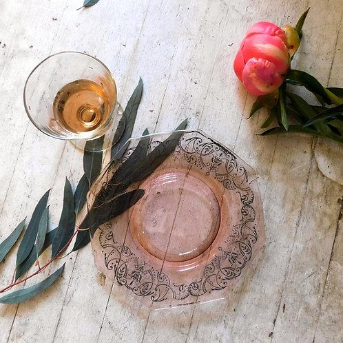 Antique Silver Filigree Pink Dish
