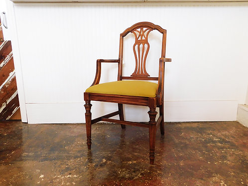 1940s Wooden Head Chair w/ Chartreuse Canvas