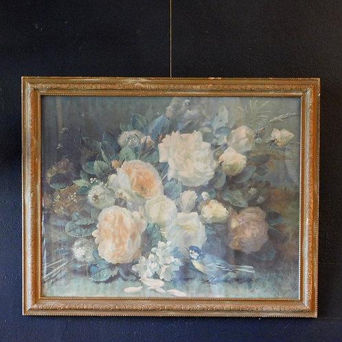 Antique Floral With Bird Framed Art