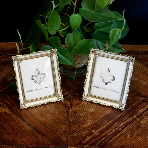 Petite Antique White & Brass Picture Frames (set of 2)