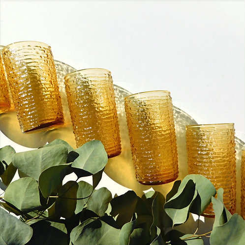 Vintage Artisan Amber Glass Tumblers (sold in sets of 4 or 6)