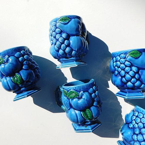 Indigo Blue Fruit Mugs (set of 6)