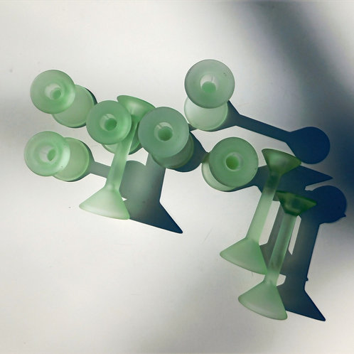 Opaque Mint Green Glass Candlesticks (sold in sets of 3)