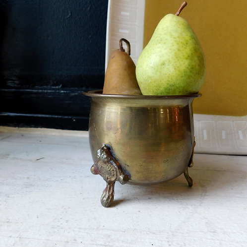 Vintage Mini Brass Footed Planter Pot