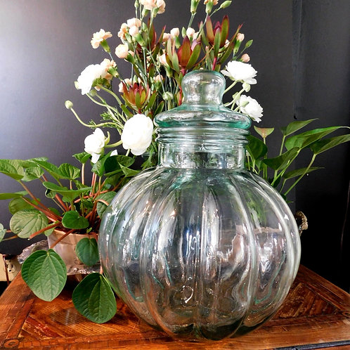 Large Recycled Glass Covered Jar