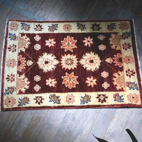 Afghan Burgundy Gold Wool Rug