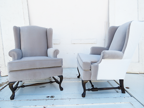 Grey Velvet Wingback Pair