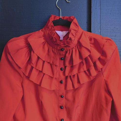 Flamenco Red Ruffle Blouse