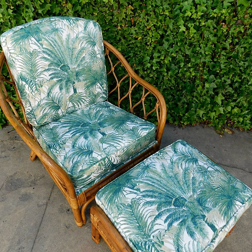 Tropical Rattan Chair & Ottoman Set