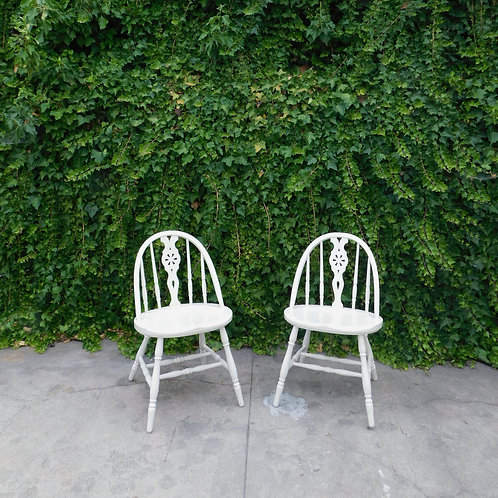 Vintage Farmhouse White Accent Chairs (sold individually)