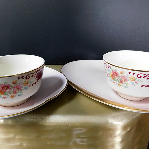 Pink Plate & Saucer Set for Two