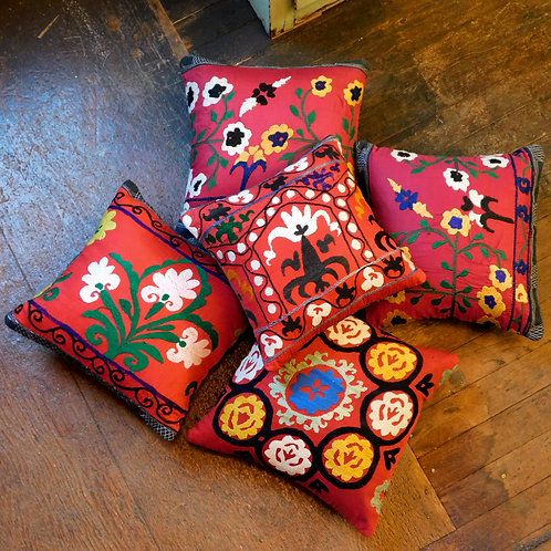 Hand Embroidered Suzani Pillows (SOLD INDIVIDUALLY)