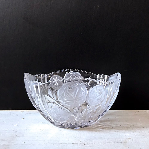 Floral Etched Cut Glass Dish