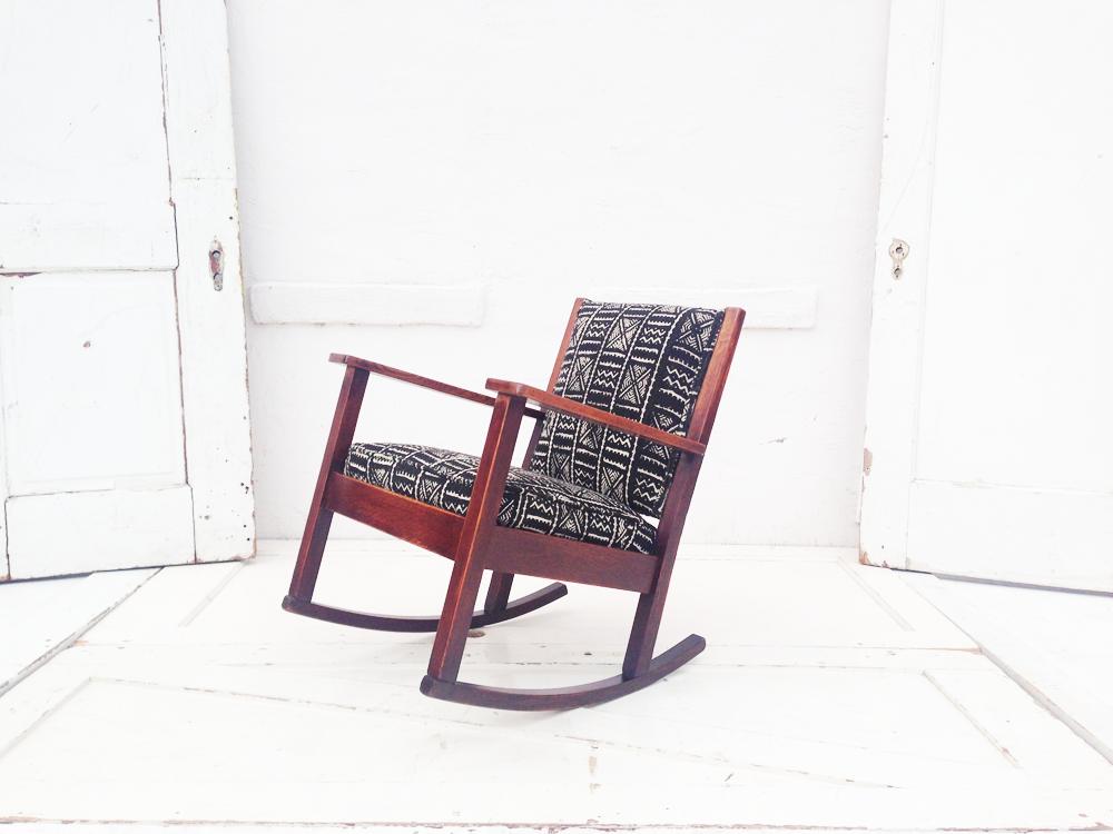 craftsmen rocker reupholstered with black mudcloth