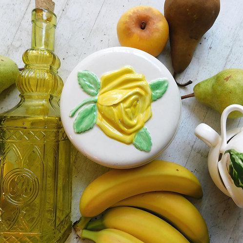 Sweet Yellow Rose Ceramic Dish