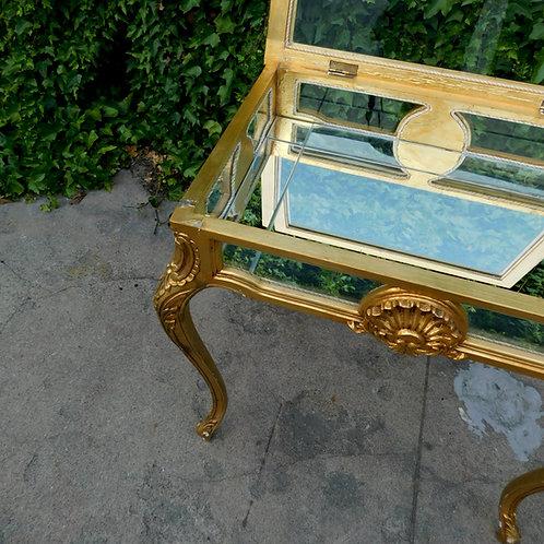 Italian Gold Curio Vitrine Flip Top Side Table