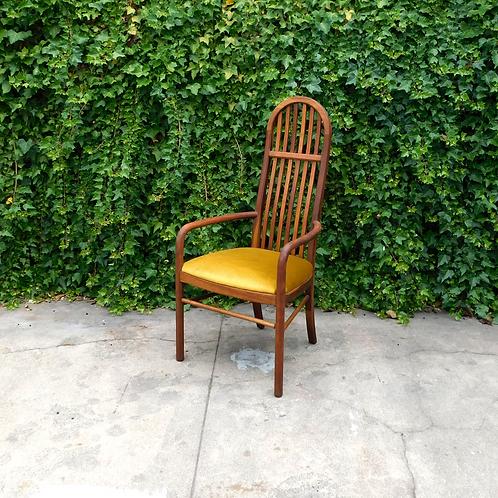Vintage Modern Slatted Brassy Velvet Accent Chair