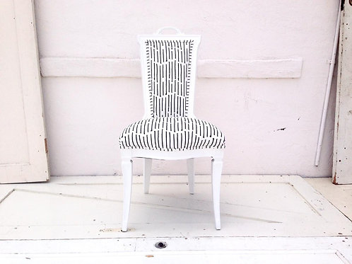 White Hand Painted CCT Ink Stripe Chair
