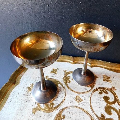 Vintage Silver Plated Italian Wine Goblets (set of 2)