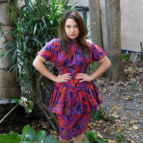 Vintage Tropical Monstera & Agave 1980's Dress