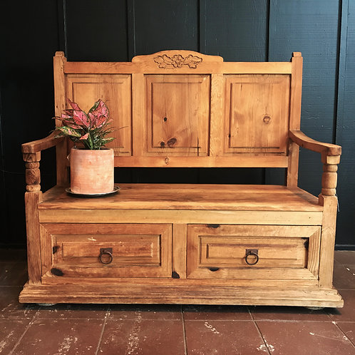 Rustic Mexican Storage Bench