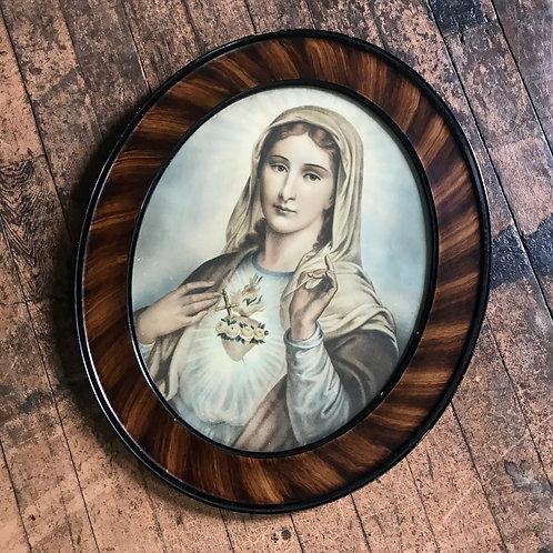Vintage Framed Madonna Sacred Heart