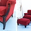 Thumbnail: Ruby Red Upholstered Chair and Ottoman