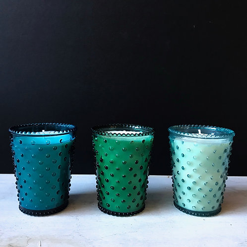 Hobnail Glass Candle, Spanish Lime