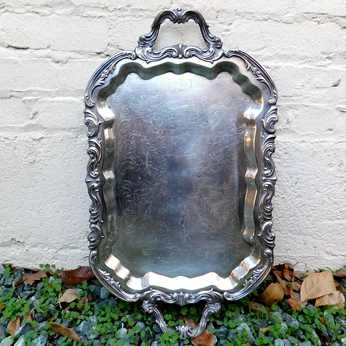 Robust Silver Footed Patina Tray