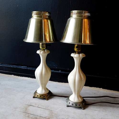 Vintage Petite crème Bedside Lamps (sold individually/one left)