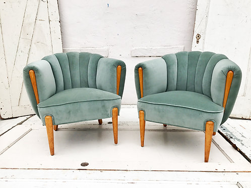 Seafoam Velvet Chairs