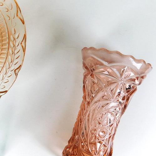 Blush Pink Art Deco Glass Vase
