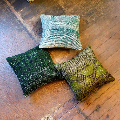 Vintage Overdyed Verde Pillows (SOLD INDIVIDUALLY)