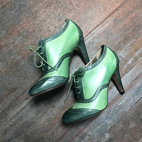 Verdant Green Lace Up Heels (size 7.5)