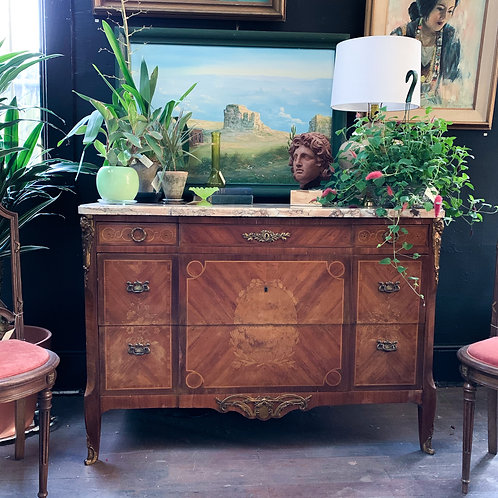 French Oak Marquetry Dresser