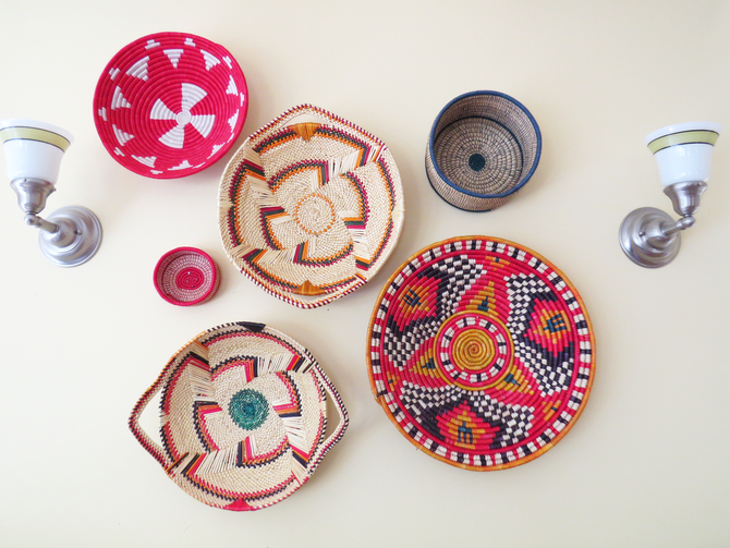 Vintage Textiles and Baskets as Wall Decor