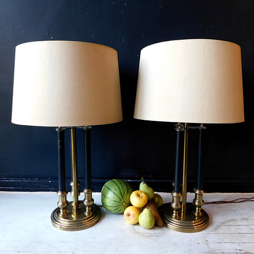 Vintage Column Black and Brass Lamps (sold Individually)