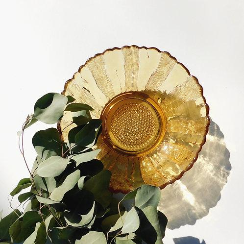 Amber Starburst Glass Dish