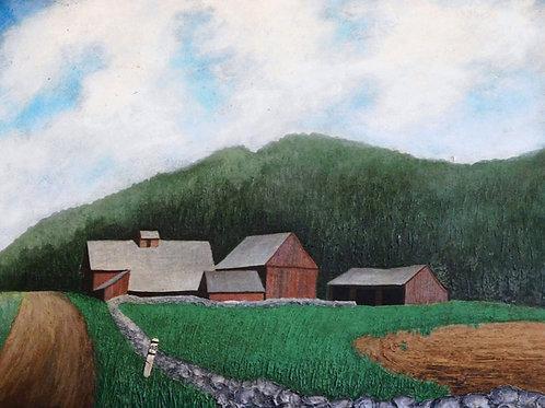 Vermont Farm Scene Oil Painting