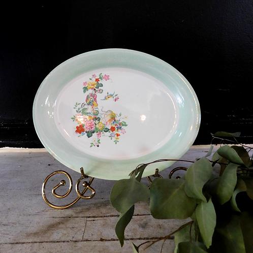 Vintage Celadon Rimmed Platter
