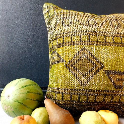 Vintage Overdyed Chartreuse Pillow
