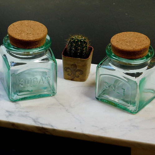 Seaglass Salt & Sugar Glass Jars (sold individually)