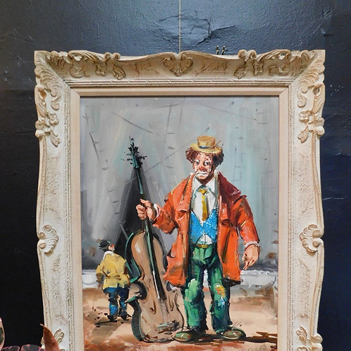 Carved Framed Original Clown Painting