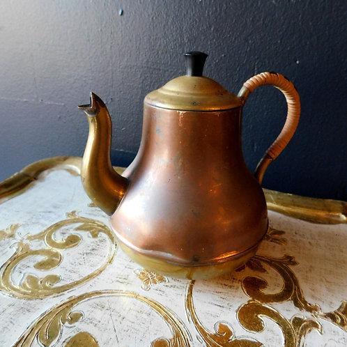 Vintage Copper Brass Teapot w/ Lid Wrapped Handle