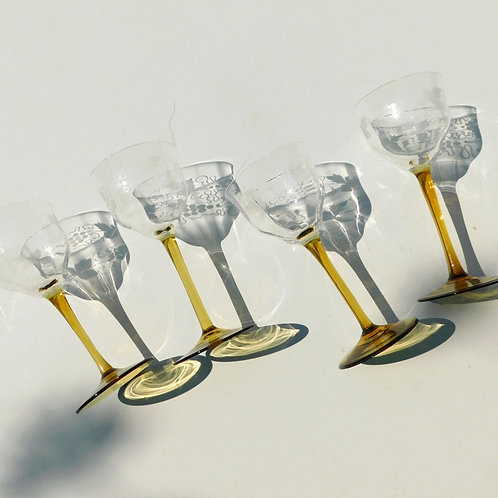 Goldenrod Stem Etched Glasses (set of 4)