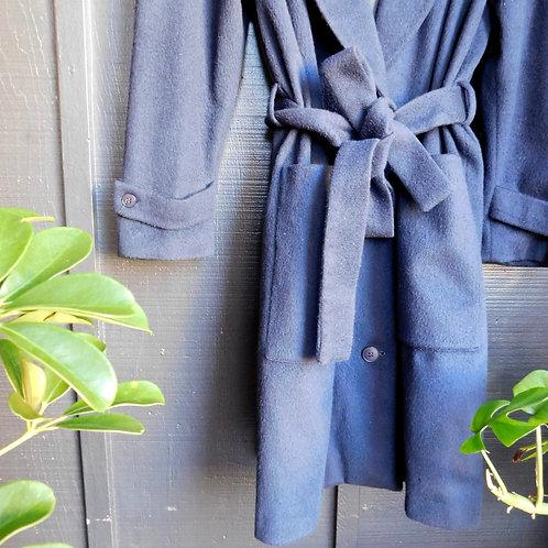 Vintage Navy Belted Trench Coat
