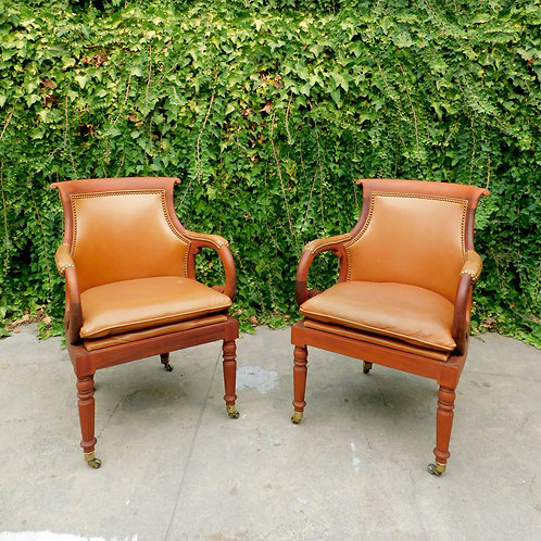 Camel Leather Bureau Head Chairs (sold individually)