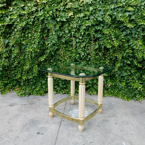 Deco Style Brass & Glass Side or Petite Coffee Table