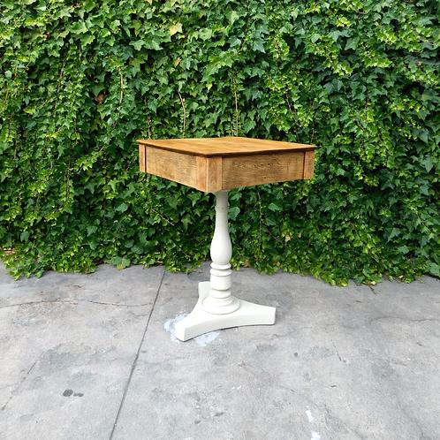 Pedestal Douglas Fir and Creme Base Side Table